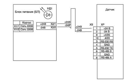 Схема подключения датчика РДУ-