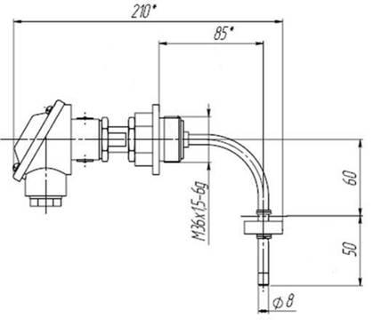 Габаритные и присоединительные размеры сигнализатора уровня жидкости СУГ-М1-Г.
